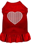 Chevron Heart Screen Print Dress Red XS (8)